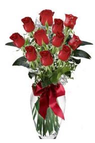 11 adet kirmizi gül vazo mika vazo içinde  Balgat Ankara çiçek online çiçek siparişi