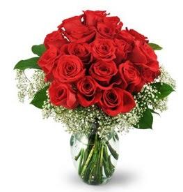25 adet kırmızı gül cam vazoda  Ankara çiçekçiler hediye çiçek yolla