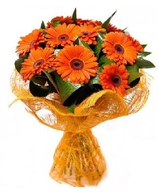 11 adet turuncu gerbera buketi  Ankara çiçekçi mağazası