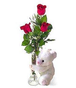 oyuncak ve 3 adet gül  Ankara internetten çiçek satışı