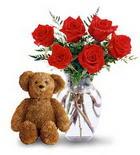 vazoda 6 adet gül ve oyuncak  Balgat çiçek yolla , çiçek gönder , çiçekçi