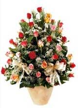 91 adet renkli gül aranjman   Ankara İnternetten çiçek siparişi
