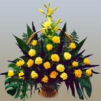 Balgat Ankara kaliteli taze ve ucuz çiçekler  17 adet sari gül ve sari kir çiçekleri