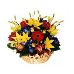 sepet içerisinde mevsim çiçeklerinden aranjman ww26w