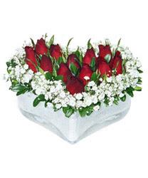 Balgat Ankaradaki çiçekçiler  mika kalp içerisinde 9 adet kirmizi gül