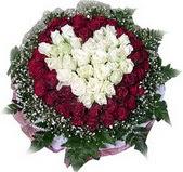 Balgat Ankara kaliteli taze ve ucuz çiçekler  27 adet kirmizi ve beyaz gül sepet içinde