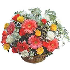 Sepet içerisinde karisik kir çiçekleri  Ankara internetten çiçek satışı