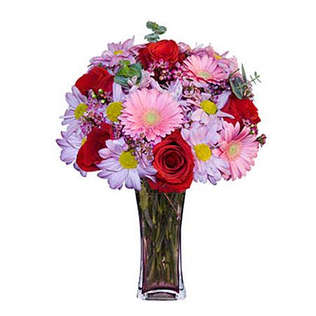 Görsel hediye karisik cam mevsim demeti  Ankara Balgat online internetten çiçek siparişi