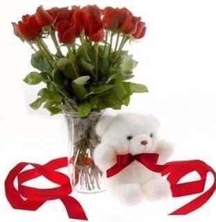 çiçek satışı ankara balgat çiçekçi  8 adet kirmizi gül ve pelus ayicik  Balgat Ankara online çiçek gönderme sipariş