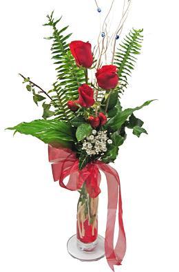 Çiçek gönderin cam vazoda 3 gül çiçekleri  Ankara internetten çiçek satışı