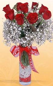 9 adet kirmizi gül cam yada mika vazoda  Balgat Ankara kaliteli taze ve ucuz çiçekler