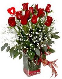 Balgat Ankara online çiçek gönderme sipariş  9 adet mika yada cam vazoda gül tanzimi kalp çubuk