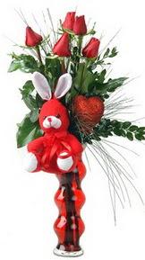 Ankara çiçekçi mağazası  Vazo içinde 5 adet gül ( pelus kalp çubuk )