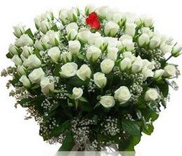 Balgat Ankara çiçek siparişi sitesi  100 adet beyaz 1 adet kirmizi gül buketi