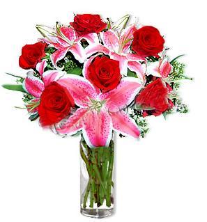 Balgat online çiçekçi telefonları  1 dal cazablanca ve 6 kırmızı gül çiçeği