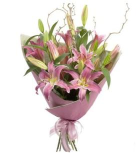 balgat çiçek siparişi Ankara çiçek yolla  3 dal cazablanca buket çiçeği