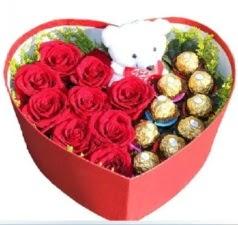 Kalp içerisinde 8 gül 9 çikolata ve ayıcık  Balgat Ankaradaki çiçekçiler