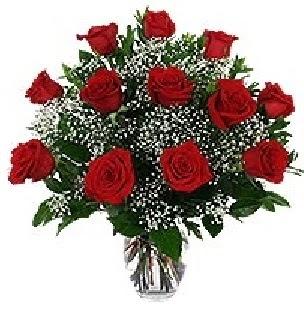 Ankara Balgat online internetten çiçek siparişi  12 adet kırmızı gülden vazo tanzimi