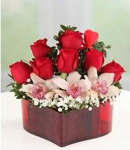 3 kandil orkide 5 kırmızı gül kalp mika  Balgat Ankara çiçek siparişi sitesi