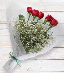 5 kırmızı gülden sade buket  Balgat online çiçekçi telefonları
