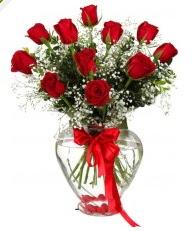 9 adet kırmızı gül cam kalpte  Ankara 14 şubat sevgililer günü çiçek