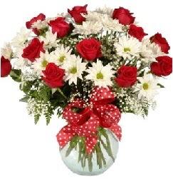 12 adet kırmızı gül papatya vazosu süper  Balgat Ankara çiçek gönderme