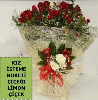 27 adet kırmızı gülden kız isteme buketi  çiçek satışı ankara balgat çiçekçi