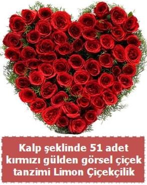 51 kırmızı gülden kalp şeklinde çiçek tanzim  çiçek satışı ankara balgat çiçekçi
