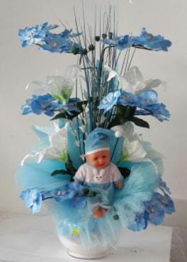 Mavi cam bebekli bebek doğum çiçeği  çiçek satışı ankara balgat çiçekçi
