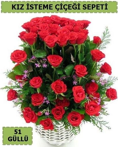 51 ADET KIRMIZI GÜLDEN KIZ İSTEME SEPETİ  Balgat online çiçekçi telefonları