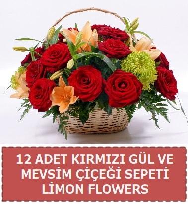 12 gül ve mevsim çiçekleri sepeti  Balgat Ankara uluslararası çiçek gönderme