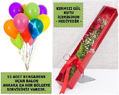 15 Adet uçan balon ve kutuda kırmızı gül  Ankara çiçekçiler hediye çiçek yolla