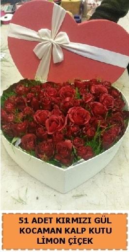 51 adet kırmızı gül kocaman kalp kutu  Balgat çiçek gönderme sitemiz güvenlidir