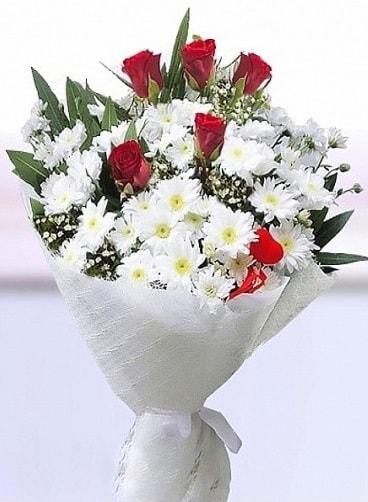 Sevdiğime papatya ve 5 kırmızı gül buketi  Ankara Balgat online internetten çiçek siparişi