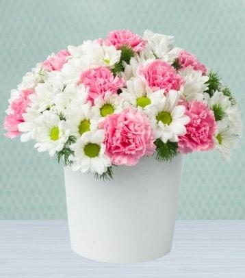 Seramik vazoda papatya ve kır çiçekleri  Ankara internetten çiçek satışı