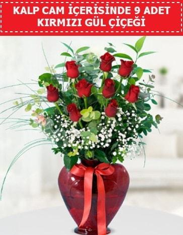 Kırmızı kalp camda 9 kırmızı gül  çiçek satışı ankara balgat çiçekçi