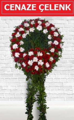 Kırmızı Beyaz Çelenk Cenaze çiçeği  balgat çiçek siparişi Ankara çiçek yolla
